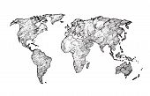 World Map Sketch. Earth Continents Rough Drawing. Scribble Classroom Vector Map Isolated. Illustrati poster