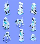 Isometric Robots. Isometric Robotic Home Assistant Security Robot Pet. Futuristic 3d Robots With Art poster