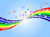 Vector of rainbow and floral background
