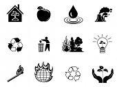 Black environment protection icons set