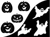 Vector set pumpkins and ghosts