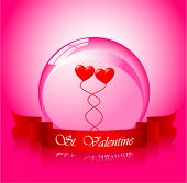 Vector of valentine's hearts in sphere