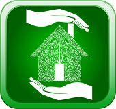Vector of green home in open hands