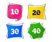 Sale Discount Icons. Special Offer Price Signs. 10, 20, 30 And 40 Percent Off Reduction Symbols. Geo poster