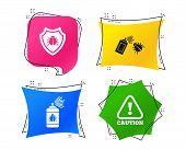 Bug Disinfection Icons. Caution Attention And Shield Symbols. Insect Fumigation Spray Sign. Geometri poster