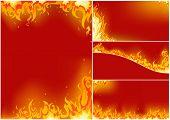 brand set op een rode achtergrond