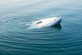 Sinking Modern Large White Boat Goes Underwater poster