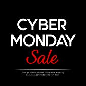 Black Background With Text For Cyber Monday. Vector Illustrations. Cyber Monday Banner Design poster