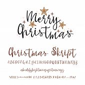 Handwritten Calligraphy Elegant Font. And Congratulations Happy New Year And Merry Christmas, Callig poster