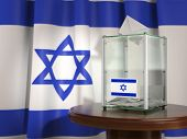 Ballot box with flag of Israel and voting papers. Israelitish presidential or parliamentary election poster