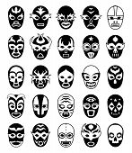 Fighters Masks. Mexican Lucha Libre Silhouettes Of Vector Masked Luchador Isolated. Collection Of Ma poster