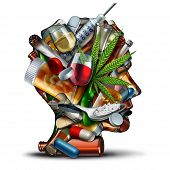 Concept Of Drug Addiction And Substance Dependence As A Junkie Symbol Or Addict Health Problem With  poster