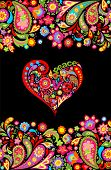 Hippie t shirt print with colorful flowers seamless border and floral heart shape with peace, love,  poster