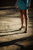 stock photo of streetwalkers  - streetwalker selective focus on nearest part - JPG