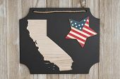 Wood Map Of The State Of California, Usa  On A Chalkboard With Patriotic Usa Red And Blue Star On We poster