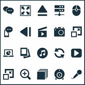 Multimedia Icons Set With Comment, Web Cam, Monitor And Other Previous Elements. Isolated  Illustrat poster