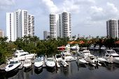 image of high-rise  - Panoramic view of a north Miami Beach marina and high rise condominiums - JPG