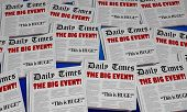 Big Event Announcement Party Conference Newspaper Headlines 34 Illustration poster