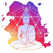 Buddha Meditating In The Single Lotus Position. Hexagram Representing Anahata Chakra In Yoga On A Ba poster