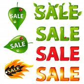 Big Sale Texts and discount signs and tags, Isolated on white