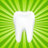 Tooth With Beams, On Green Background With Beams
