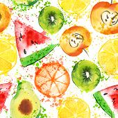 Set Of Fresh Fruit Watercolor Objects. Watercolored Apple, Citruses, Avocado And Qiwi In One Art Col poster