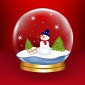 Christmas Snow Globe With Snowman And Fur-trees, On Red Background, Vector Illustration