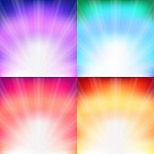 4 Sunburst  And Abstract Backgrounds, Vector Illustration