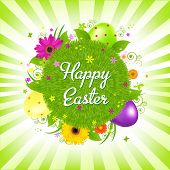 stock photo of happy easter  - Easter Eggs With Grass - JPG