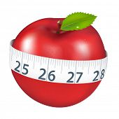 Red Apple With Measurement, Isolated On White Background
