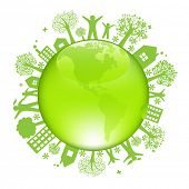 Earth Day Concept, Isolated On White Background, Vector Illustration
