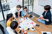 Group Of Asian And Multiethnic Business People With Casual Suit Working And Brainstorming Together I poster