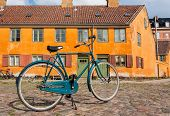 Bicycle Of Locals On Street With Colorful Historical Buildings In Traditional Style Of Copenhagen, D poster