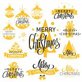 A Vector Christmas Icons Set. Merry Christmas Lettering With Christmas Trees, Bells And Decorative B poster