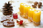 stock photo of x-max  - Christmas still life with candlelight and gingerbread - JPG
