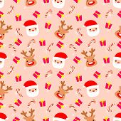 Cute Santa Claus And Reindeer Seamless Pattern. Cute Christmas Concept. poster