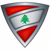 Steel shield with flag Lebanon