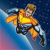 Generic superhero figure flying above a planet.