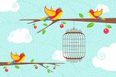 illustration of cute birds sitting on tree with hanging bird cage