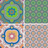 2 Vector tiles with seamless patterns in retro colors