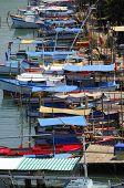 Rustic fishing boats on
