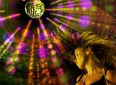 Disco girl dancing with colorful lights background