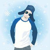 Ilustração em vetor de jovem em roupas de inverno com flocos de neve caindo