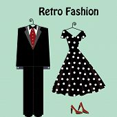 retro fashion male and female on hangers
