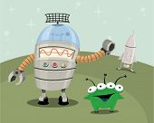 Alien and robot on a planet with a ship.