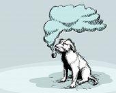 smoking dog.