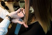 Hairdresser Holding Hot Thermal Scissors Cutting Lock Of Long Straight Hair Closeup. Hairdresser Sal poster