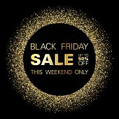 Black Friday Sale Gold Glitter Background Vector. Up To 50 Percent Off Discount, This Weekend Only T poster