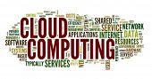 Wolke computing Konzept in Wort Tag-Wolke auf weiß