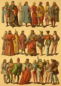 15th Century Italian Costumes. Engraved by Fr.Hottenroth and published in Trachten, Haus, Feld und K